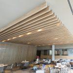 Techo listones de madera Hotel Arima Zuhaizki